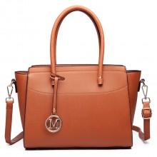 LT6627 - Miss Lulu Faux Leather Large Winged Tote Bag Handbag Brown