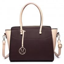 LT6627 - Miss Lulu Faux Leather Large Winged Tote Bag Handbag Coffee/Khaki