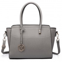 LT6627 -Miss Lulu Ladies Faux Leather Large Winged Tote Bag Handbag Grey
