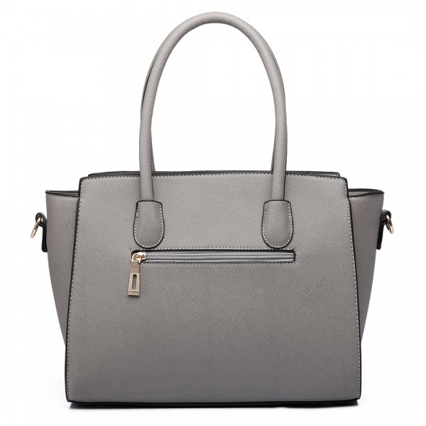 LT6627 - Miss Lulu Faux Leather Large Winged Tote Bag Handbag Grey