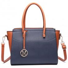LT6627 - Miss Lulu Faux Leather Large Winged Tote Bag Handbag Navy/Brown