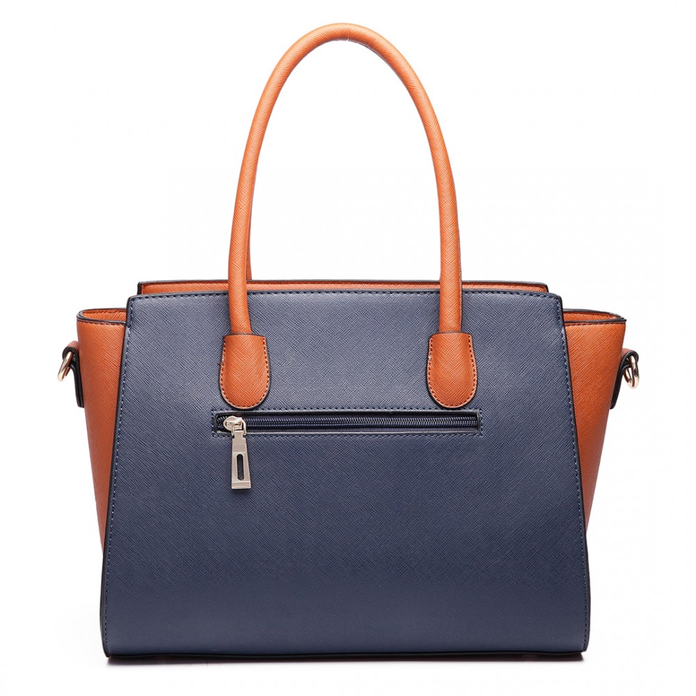 260fea0270 LT6627 -Ladies PU Sac à main en cuir Celebrity Grand sac à bandoulière bleu  / marron