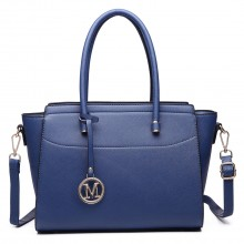 LT6627 - Miss Lulu Faux Leather Large Winged Tote Bag Handbag Navy