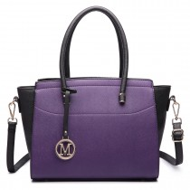 LT6627 -Miss Lulu Ladies Faux Leather Large Winged Tote Bag Handbag Purple/Black