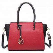 LT6627 -Miss Lulu Ladies Faux Leather Large Winged Tote Bag Handbag Red/Black