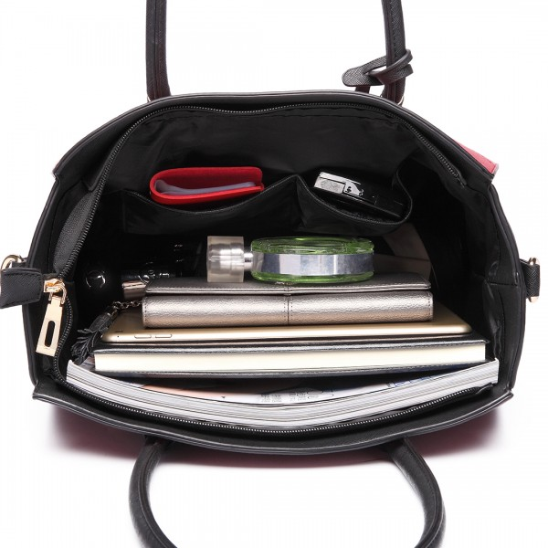 LT6627 -Miss Lulu Ladies Faux Leather Large Winged Tote Bag Handbag Red/Black