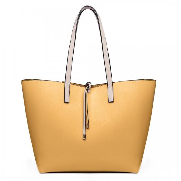 LT6628 - Miss Lulu Women Reversible Contrast Shopper Tote Bag Beige