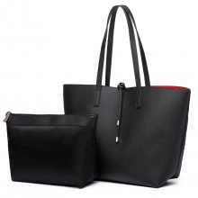 LT6628 - Miss Lulu Women Reversible Contrast Shopper Tote Bag Black