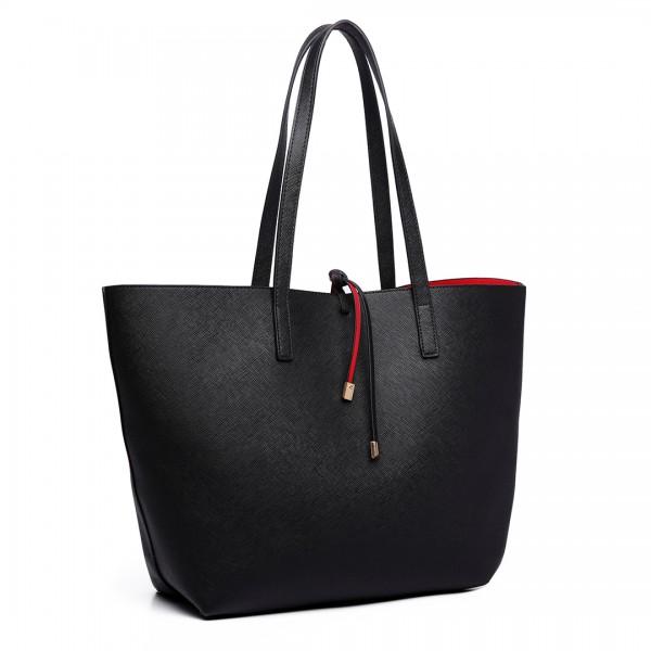 LT6628 - Miss Lulu Women Reversible Contrast Shopper Tote Bag Black