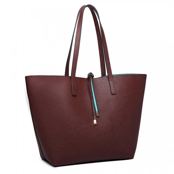 LT6628 - Miss Lulu Women Reversible Contrast Shopper Tote Bag Coffee