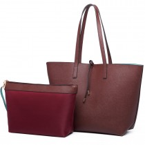 LT6628- Miss Lulu Women Reversible Contrast Shopper Tote Bag coffee