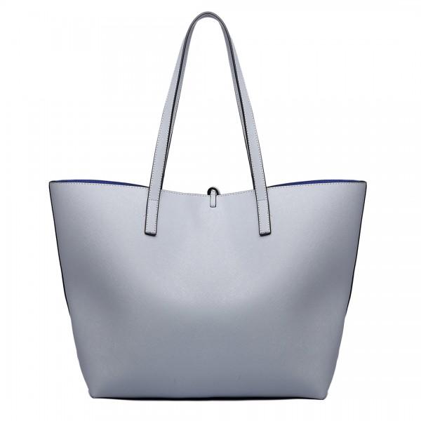LT6628 - Miss Lulu Women Reversible Contrast Shopper Tote Bag Grey