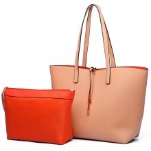 LT6628 - Miss Lulu Women Reversible Contrast Shopper Tote Bag Nude