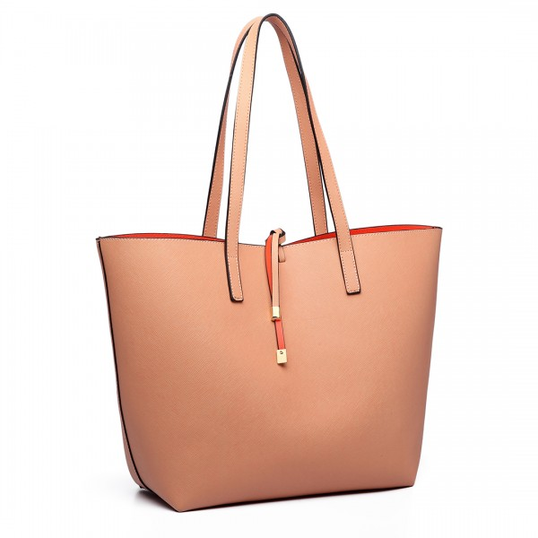 LT6628 - Miss Lulu Women Reversible Contrast Shopper Tote Bag Nude