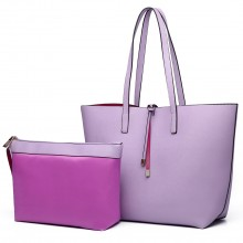 LT6628 - Miss Lulu Women Reversible Contrast Shopper Tote Bag Purple