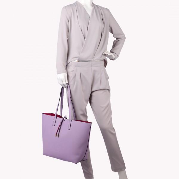 LT6628 - Miss Lulu Women Reversible Contrast Shopper Tote Bag Purple