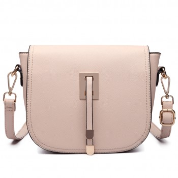 LT6631- Miss Lulu Faux Leather Cross-Body satchel Bag beige