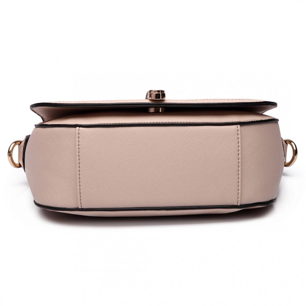 LT6631 - Miss Lulu Faux Leather Cross Body Satchel Bag Beige bede9ad97b0d6
