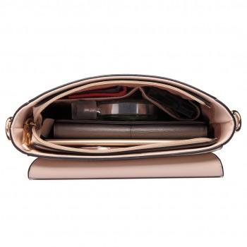 LT6631 - Miss Lulu Faux Leather Cross Body Satchel Bag Beige