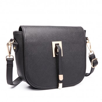 LT6631 - Miss Lulu Faux Leather Cross Body Satchel Bag Black