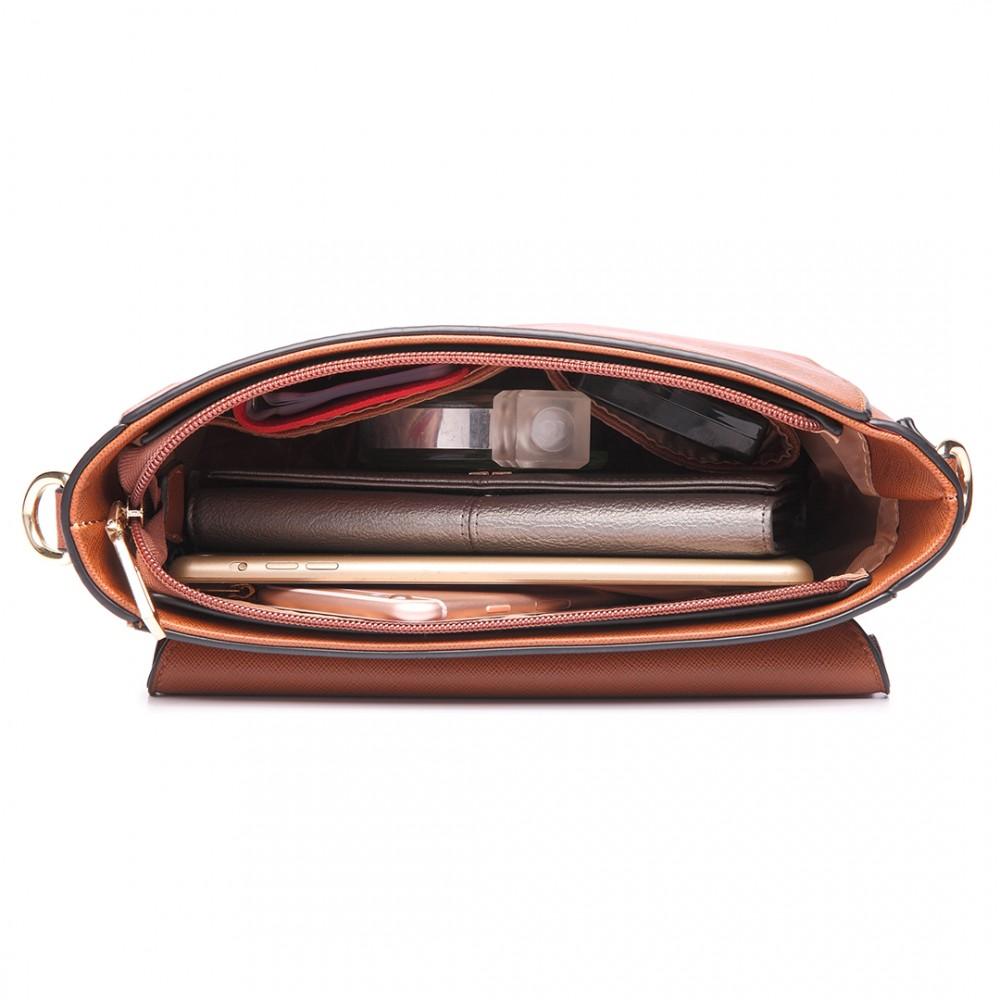 LT6631 - Miss Lulu Faux Leather Cross Body Satchel Bag Brown b605234d58f2e