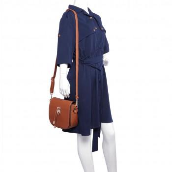 LT6631- Miss Lulu Faux Leather Cross-Body satchel Bag brown