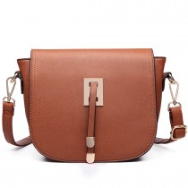 LT6631- Miss Lulu Faux Leather Cross-Body satchel Bag brown