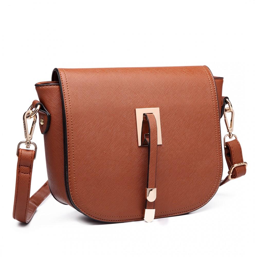 LT6631 - Miss Lulu Faux Leather Cross Body Satchel Bag Brown f91473d462b7f
