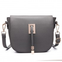 LT6631- Miss Lulu Faux Leather Cross-Body satchel Bag gray