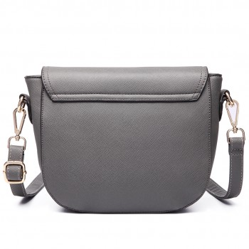 LT6631 - Miss Lulu Faux Leather Cross Body Satchel Bag Grey