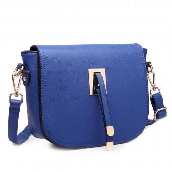 LT6631 - Miss Lulu Faux Leather Cross Body Satchel Bag Navy