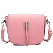 LT6631- Miss Lulu Faux Leather Cross-Body satchel Bag pink