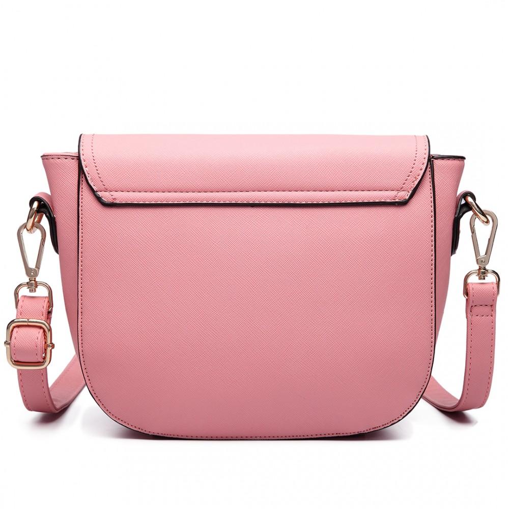 LT6631 - Miss Lulu Faux Leather Cross Body Satchel Bag Pink 985749f966a62