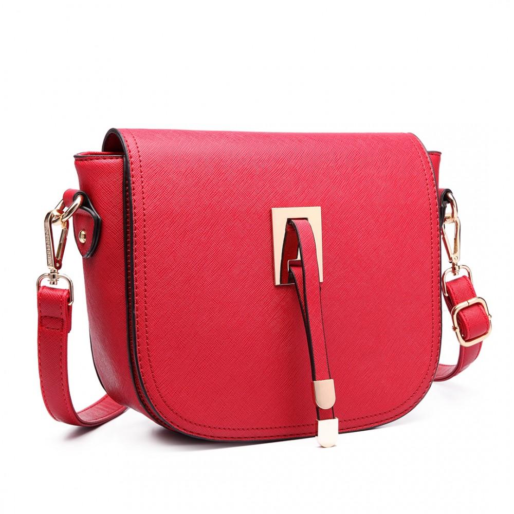 LT6631 - Miss Lulu Faux Leather Cross Body Satchel Bag Red cb2b6d9e88f2c