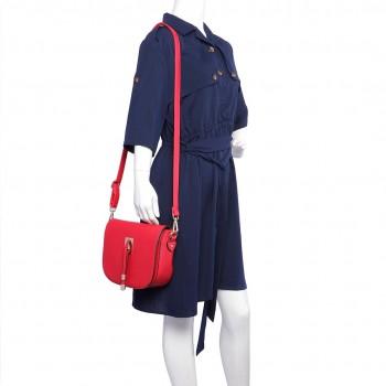 LT6631- Miss Lulu Faux Leather Cross-Body satchel Bag red