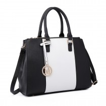LT6633-Women PU Leather  Handbag Sutton Centre Stripe Tote Shoulder Bag black
