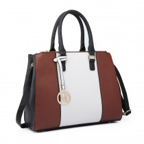 LT6633-Women PU Leather  Handbag Sutton Centre Stripe Tote Shoulder Bag brown