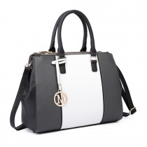 LT6633-Women PU Leather  Handbag Sutton Centre Stripe Tote Shoulder Bag gray