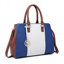 LT6633 - Miss Lulu Leather Look Sutton Centre Stripe Shoulder Bag Navy