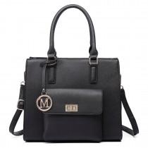 LT6635-Miss Lulu Women Faux Leather Front Pocket Tote Bag Handbag black