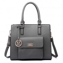 LT6635- Miss Lulu Women Faux Leather Front Pocket Tote Bag Handbag gray
