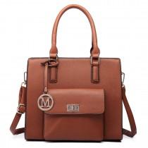 LT6635- Miss Lulu Women Faux Leather Front Pocket Tote Bag Handbag brown
