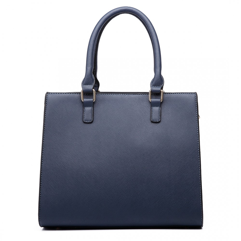LT6635 - Miss Lulu Women Faux Leather Front Pocket Tote Bag Handbag Navy aba96f3f764b2