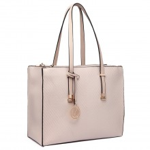 LT6636 - Miss Lulu Embossed Pattern Leather Look Shoulder Bag Beige
