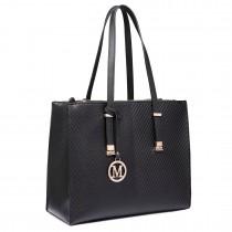 LT6636 - Miss Lulu Embossed Pattern Leather Look Shoulder Bag Black