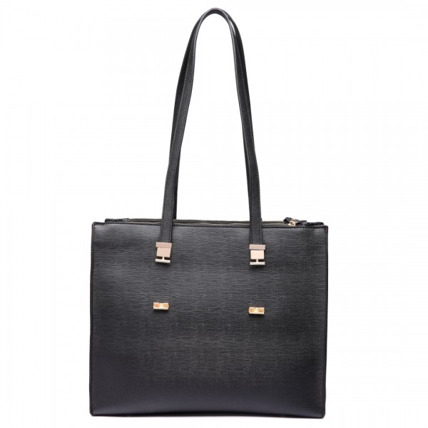 LT6636 - Miss Lulu Embossed Pattern Leather Look Shoulder Bag Black