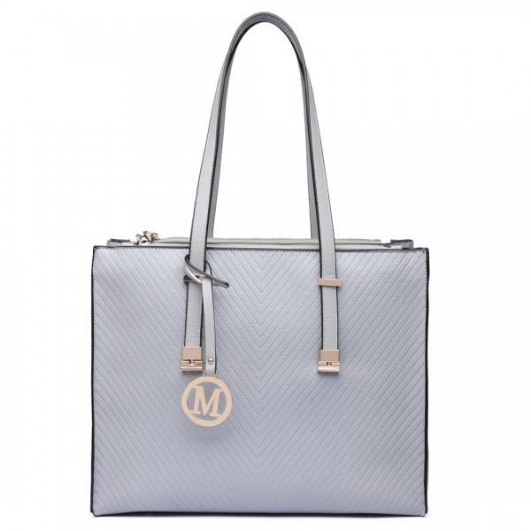 LT6636 - Miss Lulu Embossed Pattern Leather Look Shoulder Bag Grey