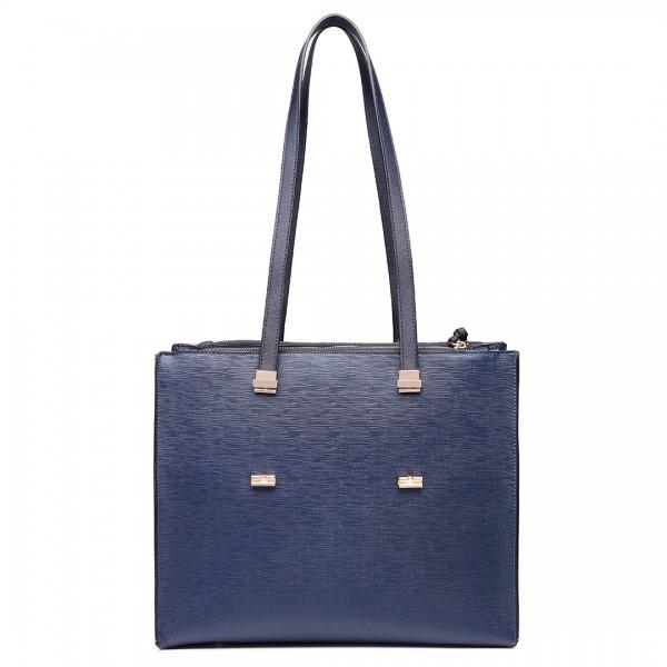 LT6636 - Miss Lulu Embossed Pattern Leather Look Shoulder Bag Navy