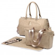 LT6638 - Miss Lulu Leather Look Maternity Changing Shoulder Bag Beige