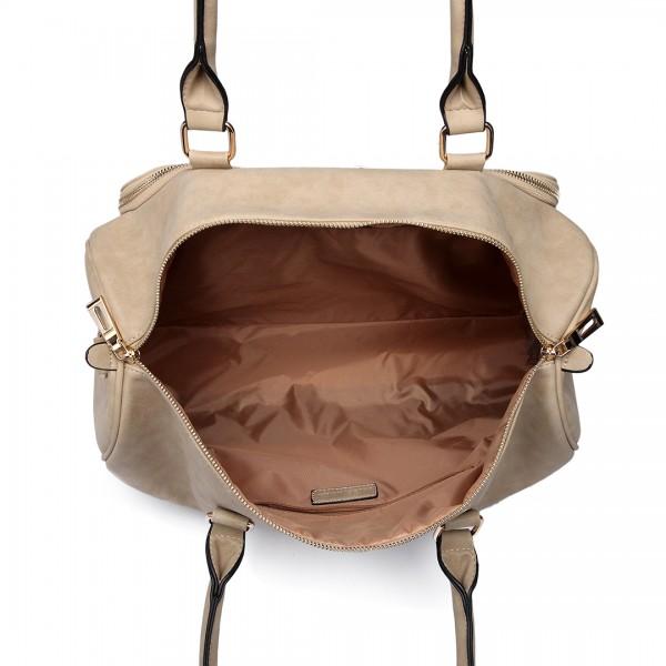 LT6638 - Miss Lulu Leather Look Maternity Changing Shoulder Bag Beige